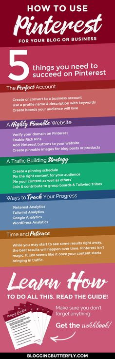 Pinterest for Bloggers: How to use Pinterest to grow your blog or blog-based business. Learn the 5 things you need to get more traffic to your blog with Pinterest. Read this and more blogging success tips for beginners: https://bloggingbutterfly.com/pinterest-for-bloggers-traffic/?utm_source=pinterest&utm_campaign=pinterest_for_bloggers_traffic&utm_medium=blog_link&utm_content=graphic