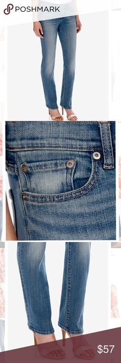 Lucky Brand Sweet and Straight Jeans Worn with flats or sky high heels this Lucky Brand straight leg jeans are classic go-to and pair perfectly with any top. Classic 5 pocket style. Mid rise. Cotton/polyester/elastane. Straight leg. Slim fit through hips and tights. Zipper and button closure, belt loops. Lucky Brand Jeans Straight Leg