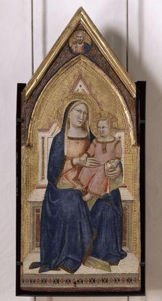 La Vierge à l'Enfant. Lunette supérieure : le Christ bénissant // s. XIV // Taddeo Gaddi //Musée du Petit Palais, Avignon  #VirginAndChild