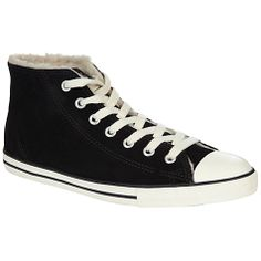 Converse Chuck Taylor All Stars Dainty Mid-Top Fur Lined Suede Trainers, Black Online at johnlewis.com