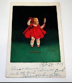 1908 Antique Postcard Baby Girl Mirror Seeing Senses Series Ullman Leap Day UB
