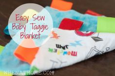 easy sew, taggie blanket, how to make a baby blanket, DIY baby gifts