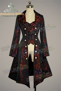 Gothic Aristocrat: Embellished-Vest Pirate Brocade Unisex Long Jacket/ Frock Coat for Lady Style Steampunk, Steampunk Costume, Steampunk Clothing, Steampunk Fashion, Steampunk Jacket, Gothic Clothing, Casual Steampunk, Hippie Clothing, Renaissance Clothing