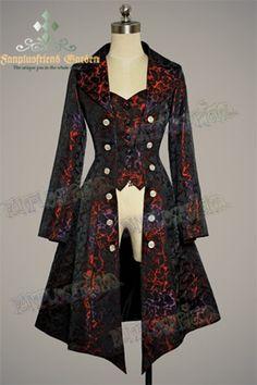 Gothic Aristocrat: Embellished-Vest Pirate Brocade Unisex Long Jacket/ Frock Coat for Lady Style Steampunk, Steampunk Costume, Steampunk Clothing, Steampunk Fashion, Steampunk Jacket, Gothic Clothing, Gothic Steampunk, Hippie Clothing, Renaissance Clothing