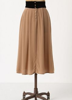 Anthropologie skirt (yup), inspiration to make the Colette Ceylon dress - using fawn/tan silk crepe for the main fashion fabric, black velvet at the waist and shoulders, accented with covered buttons with tan silk crepe covered buttons that cross the waist. It would probably need a lining.