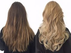 Before and after of this brunette to icy cool blonde Balayage long ...