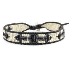 Chan Luu - Silver Mix Beaded Single Wrap Bracelet on Natural Black Leather, $115.00 (http://www.chanluu.com/mens-bracelets/silver-mix-beaded-single-wrap-bracelet-on-natural-black-leather/)