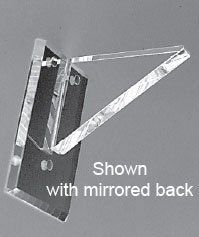 Clear Back Flush Top No Lip Acrylic Shelf Support - 10 in - Pair by Mirart. $107.73. These are our strongest brackets. Shelf rests on bracket with back flush against the wall. Available in Mirror or Clear Back These beautifully designed acrylic shelving supports enhance mirror installations or form shelving support systems. Brackets come with screws, plastic anchors, and screw covers to hide screw heads for total mirror look. Shelf Size: 10 in