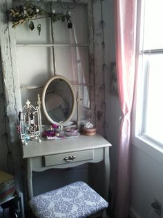 chabby chic!  The dressing table needs to be aged with a glaze.