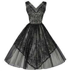 Vintage 1950's Black Chiffon Glitter Cocktail Dress