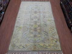 "Geometric Design Faded Color Vintage Rug 4'4"" x 6'4"" Anatolian Area Rug Ethnic Rug Decorative Rug Bohemian Rug Turkey Rug Floor Rug"