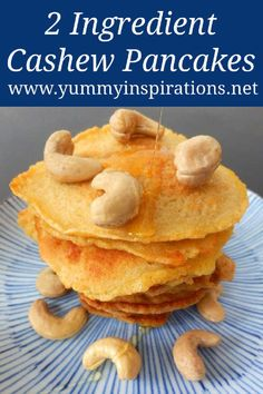 2 Ingredient Cashew Pancakes - Easy, Low Carb, Keto & Paleo friendly low carb high protein breakfast ideas with cashew nuts. High Protein Breakfast, High Protein Low Carb, Breakfast On A Budget, Breakfast Recipes, Low Carb Recipes, Diet Recipes, Snack Recipes, Snacks, Pancakes Easy