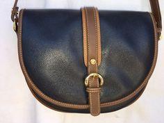 harve' benard by Bernard Holtzman Saddle Bag Shoulder Bag Blue & Brown #hervebernard #Saddlebag