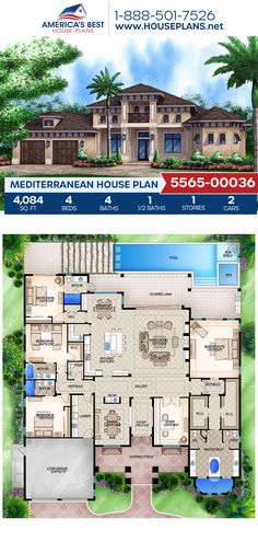 Get a load of Plan 5565-00036, a 4,084 sq. ft. Mediterranean home design offering 4 bedrooms, 4.5 bathrooms, a breakfast nook, a kitchen island, an open floor plan, a lanai, and a study. #architecture #houseplans #housedesign #homedesign #homedesigns #architecturalplans #newconstruction #floorplans #dreamhome #dreamhouseplans #abhouseplans #besthouseplans #newhome #newhouse #homesweethome #buildingahome #buildahome #residentialplans #residentialhome Best House Plans, Dream House Plans, Floor Plan Drawing, Mediterranean House Plans, Stucco Exterior, Study Architecture, Floor Framing, Build Your Dream Home, Lanai