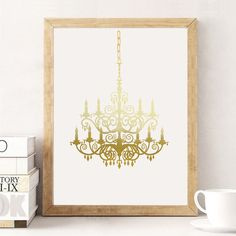 Chandelier Print Real Gold Foil Print Gold by LovelyPosters