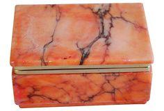 1950s Orange Italian Alabaster Box