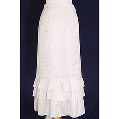 Stylish and beautiful.  Linen look without the wrinkles. Rich and elegant with ruched panels and graceful ruffles. Gorgeous!