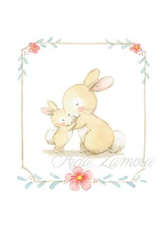 Children's Art HUG BUNNIES Archival Print Nursery por AidaZamora