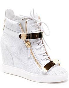 4ac0938b349 Giuseppe Zanotti Design SpringSummer 2013 Collection White Metallic Wedge  Sneakers Giuseppe Zanotti Heels