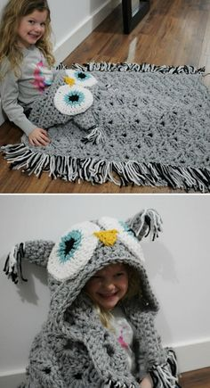 This Crochet Owl Hooded Blanket went viral and is it any wonder. You will love this exciting pattern. Crochet Owl Blanket Pattern, Crochet Owls, Crochet Patterns, Blanket Patterns, Owl Hooded Blanket, Crochet Hooded Scarf, Autumn Theme, Long Sweaters, Crochet Projects