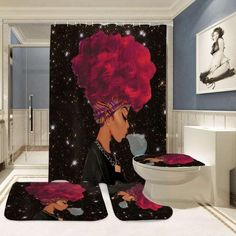 African Woman Blowing Bubbles on Starry Night Shower Curtain Set - 17 room decor For Women curtains ideas Girl Bathroom Decor, Bathroom Sets, Bedroom Decor, Bathrooms, Bedroom Ideas, Shower Curtain Sizes, Bathroom Shower Curtains, Curtain Sets, Kitchen Curtains