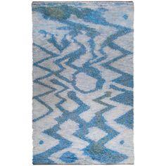 """Large 115"""" Swedish Knotted Rya Carpet, 1950s"""