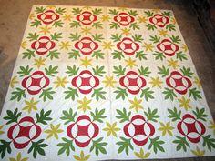 Antique Applique Quilt Mid-1800s Oak Leaf and Reel