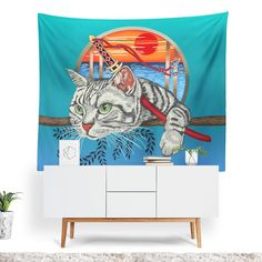 Samurai Cat Tapestry - 50x60 / Without Grommets