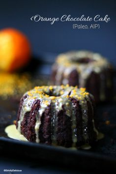 Grain-Free Orange Chocolate Cake | StrictlyDelicious.com  Currently in the oven with a couple modifications since vanilla and standard baking powder aren't part of the elimination phase of AIP.