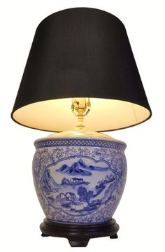 Blue and White Porcelain Bowl Table Lamp Ceramic Jars, Ceramic Table Lamps, Blue And White Vase, White Vases, Asian Lamps, Chinese Lamps, Porcelain Doll Makeup, Fabric Shades, Drum Shade