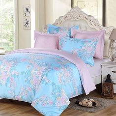 LANSIU Duvet Cover King Set 100 Egyptian Cotton Pink Floral on Blue Girls Bedding Reversible Printing with 220 Thread Count Percale -- Visit the image link more details.
