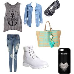 A fashion look from March 2015 featuring Timberland ankle booties and Star Mela tote bags. Browse and shop related looks.