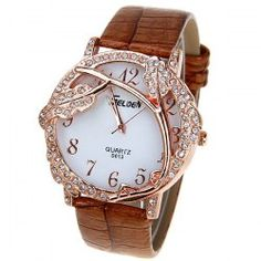 $4.27 Selden Quartz Watch with 12 Numbers Indicate Leather Watchband for Women - Brown