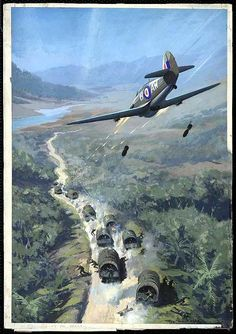 """A British Hurricane fighter attacking a Japanese troop convoy in jungle country (possibly Burma). """"Japanese troop convoy"""" by Roy Nockolds, Post-1941"""