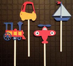 B is for Boy Planes, Trains and Automobile Baby Boy Shower Birthday Party Cupcake Toppers