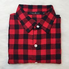❤️SALE❤️ red and black plaid flannel ❤️ON SALE. PRICE IS FIRM❤️  •can fit size XS-S  •new never used  •material: cotton  •no trades   •will model or give measurements, just ask  ❗️ if the item does not fit you CANNOT return it - poshmark policy Tops Button Down Shirts