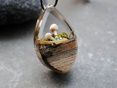 Your place to buy and sell all things handmade Ice Resin, Acrylic Resin, Resin Jewelry, Jewelry Crafts, Tiny Mushroom, Polymer Project, Terrarium Necklace, Wood Necklace, Resin Pendant