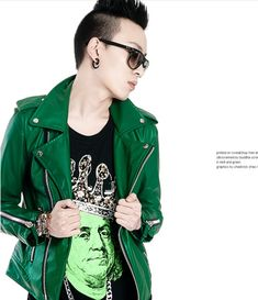 2015 Spring Mens Clothing Fashion Green PU leather Jackets For Men,Motorcycle Punk Heavy Metal Men's Jacket Coat,Outdoor Outwear