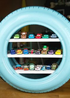 5 Upcycling Ideas For Shelving And Toy Storage In Your Child's . 5 Upcycling Ideas for Shelving and Toy Storage in Your Child's upcycled room ideas - Upcycled Home Decor Tyres Recycle, Diy Recycle, Recycling, Reuse, Diy Toys Car, Tire Craft, Hot Wheels Display, Diy Toy Storage, Storage Ideas