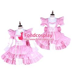 Free Shipping Lockable-Sissy Maid PVC Dress Pink Uniform Cosplay Costume Tailor-made