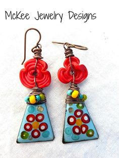 Red flower Lampwork Glass, seed beads and copper metal enamel charm earrings.