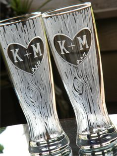 Toasting Pilsner Glasses Personalized with Carved Tree, Heart, Initials and Date -Set of 2. $52.00, via Etsy.