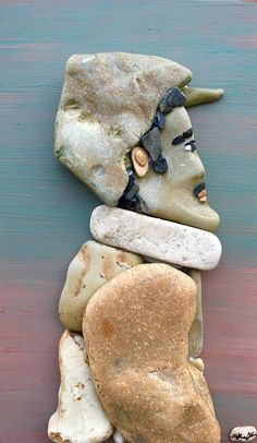 Creative art from stones find on the beach by​ Stefano Furlani