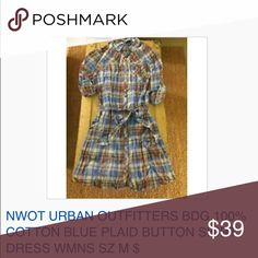 NWOT URBAN OUTF BDG 100%COTTON PLAI DSHIRT DRESS M NWOT URBAN OUTFITTERS BDG 100% COTTON BLUE PLAID BUTTON SHIRT DRESS WMNS SZ M $68 All reasonable offers accepted and encouraged! Combined shipping discount with purchase of additional items. All items come from a CLEAN, SMOKE-FREE home Urban Outfitters Dresses