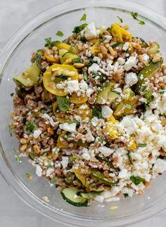 Zucchini Farro Salad - Summer Squash Basil Farro Salad...