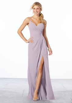 Sultry chiffon bridesmaid dress featuring a surplice bodice with a v-shaped neckline and gathering at the waist. This A-line dress also has a side slit. Shown in French Lilac. View Chiffon swatch card for all available colors. Mori Lee Bridesmaid Dresses, Velvet Bridesmaid Dresses, Wedding Bridesmaids, Bridesmaid Color, Wedding Bouquet, French Lilac, One Shoulder Jumpsuit, Dream Dress, Fashion Dresses