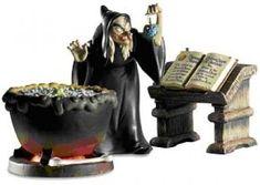 "The Hag has a cauldron, and she's not afraid to use it. ""EVIL TO THE CORE"" - HAG & CAULDRON FIGURINE SET #Disney #WDCC"