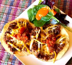 Simple Black Bean Tostadas. #blackbean #mexican #delicious