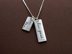 Personalized Necklace Memorial Handwriting by Silverymoonjewellery