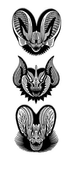 Bat Heads by El Monga Sasturain. Screenprint for sale at : http://lacobranegrashop.com/product/bat-heads-by-el-monga